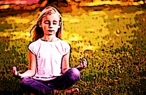 Little girl meditating
